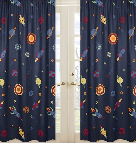 Window Treatment Panels for Space Galaxy Collection - Set of 2 - Click to enlarge