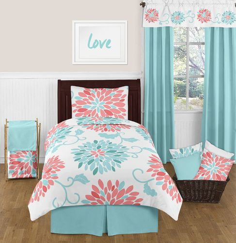 Turquoise and Coral Emma 3pc Girls Teen Full / Queen Bedding Set Collection by Sweet Jojo Designs - Click to enlarge