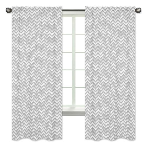Window Treatment Panels for Turquoise and Gray Chevron Zig Zag Bedding by Sweet Jojo Designs - Set of 2 - Click to enlarge