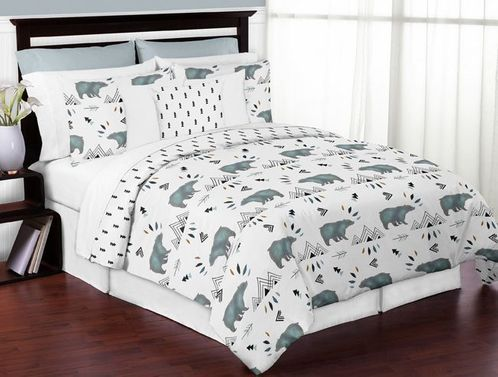 Bear Mountain Watercolor Boy Full / Queen Kid Childrens Teen Bedding Comforter Set by Sweet Jojo Designs - 3 pieces - Click to enlarge