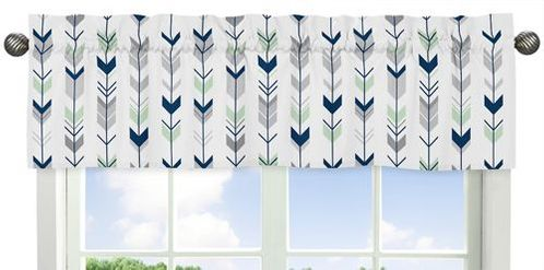 Window Valance for Grey, Navy Blue and Mint Woodland Arrow�Collection by Sweet Jojo Designs - Click to enlarge