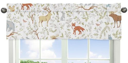 Window Valance for Woodland Animal Toile Collection by Sweet Jojo Designs - Click to enlarge