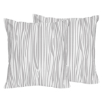 Wood Grain Print Decorative Accent Throw Pillows for Grey and White Woodland Deer Collection - Set of 2