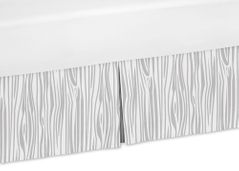 Wood Grain Print Queen Bed Skirt for Navy and White Woodland Deer Bedding Sets by Sweet Jojo Designs