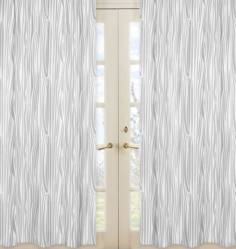 Wood Grain Print Window Treatment Panels for Navy and White Woodland Deer Collection by Sweet Jojo Designs - Set of 2 - Click to enlarge