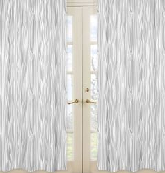 Wood Grain Print Window Treatment Panels for Woodland Animals by Sweet Jojo Designs - Set of 2