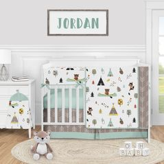 Woodland Animal Baby Boy or Girl Nursery Crib Bedding Set by Sweet Jojo Designs - 5 pieces - Aqua and Yellow Bear Fox Outdoor Adventure