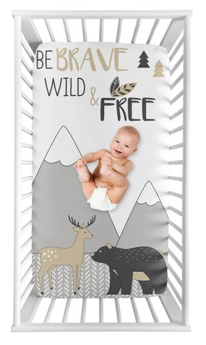 Woodland Animal Boy or Girl Fitted Crib Sheet Baby or Toddler Bed Nursery Photo Op by Sweet Jojo Designs - Beige, Grey and White Boho Deer Bear Mountain Friends - Click to enlarge