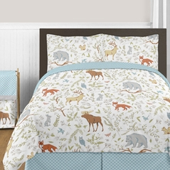Woodland Animal Toile 3pc Boy or Girl Full / Queen Bedding Set by Sweet Jojo Designs