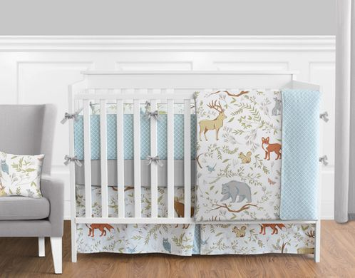Woodland Animal Toile Baby Boy or Girl Bedding - 9pc Crib Set by Sweet Jojo Designs - Click to enlarge