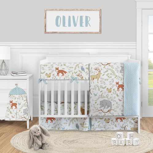 Woodland Animal Toile Baby Boy or Girl Nursery Crib Bedding Set by Sweet Jojo Designs - 5 pieces - Blue Grey Brown and Orange Forest Bear Deer Fox - Click to enlarge