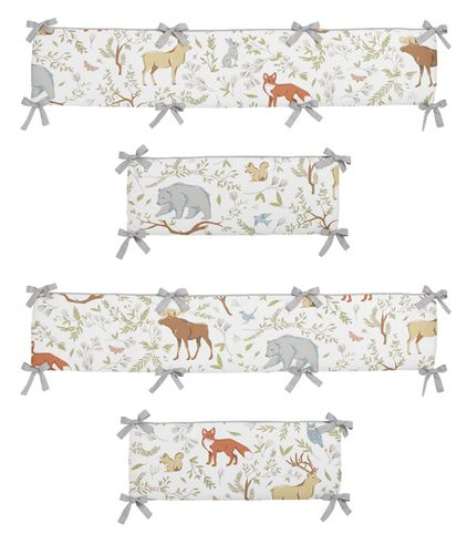 Woodland Animal Toile Baby Crib Bumper Pad by Sweet Jojo Designs - Click to enlarge