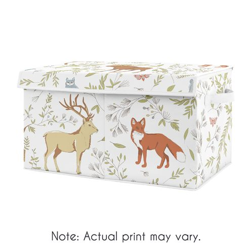 Woodland Animal Toile Boy or Girl Small Fabric Toy Bin Storage Box Chest For Baby Nursery or Kids Room by Sweet Jojo Designs - Grey, Green and Brown Bear Deer Fox - Click to enlarge
