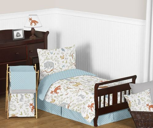 Woodland Animal Toile Boy or Girl Toddler Bedding - 5pc Set by Sweet Jojo Designs - Click to enlarge