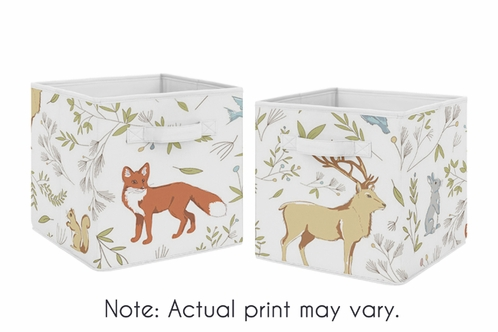 Woodland Animal Toile Foldable Fabric Storage Cube Bins Boxes Organizer Toys Kids Baby Childrens for Collection by Sweet Jojo Designs - Set of 2 - Click to enlarge