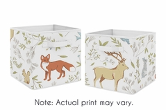 Woodland Animal Toile Foldable Fabric Storage Cube Bins Boxes Organizer Toys Kids Baby Childrens for Collection by Sweet Jojo Designs - Set of 2