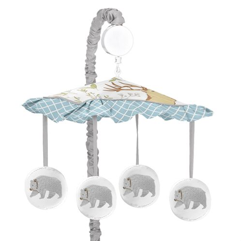 Woodland Animal Toile Musical Baby Crib Mobile by Sweet Jojo Designs - Click to enlarge