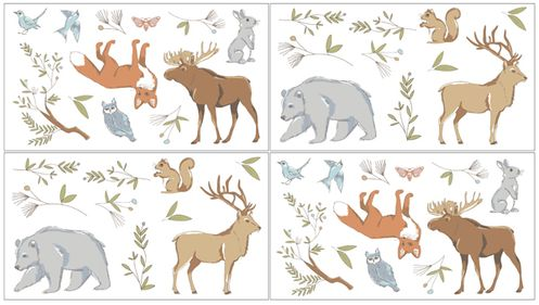 Woodland Animal Toile Peel and Stick Wall Decal Stickers Art Nursery Decor by Sweet Jojo Designs - Set of 4 Sheets - Click to enlarge