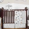 Woodland Animals Baby Boy Nursery Crib Bedding Set by Sweet Jojo Designs - 4 pieces - Blue, Grey and Taupe Forest Bear Deer Fox