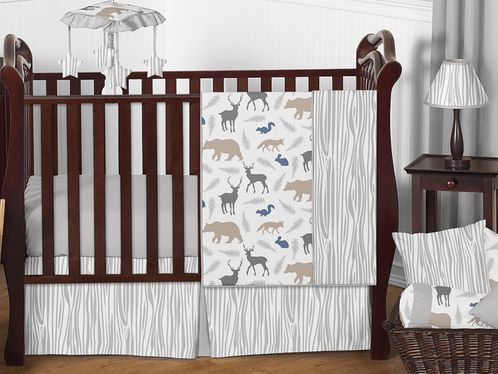 Woodland Animals Baby Boy Nursery Crib Bedding Set by Sweet Jojo Designs - 4 pieces - Blue, Grey and Taupe Forest Bear Deer Fox - Click to enlarge