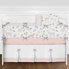 Woodland Animals Floral Deer Baby Girl Nursery Crib Bedding Set with Bumper by Sweet Jojo Designs - 9 pieces - Blush Pink and Grey Forest Fox Watercolor Rose Flower
