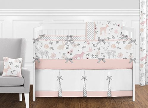 Woodland Animals Fl Deer Baby Nursery Crib Bedding Set With Per By Sweet Jojo Designs 9 Pieces Blush Pink And Grey Forest Fox Watercolor
