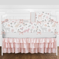 Woodland Animals Floral Deer Baby Girl Nursery Crib Bedding Set with Bumper by Sweet Jojo Designs - 9 pieces - Blush Pink and Grey Forest Fox Watercolor Rose Flower Three Tiered Ruffled Crib Skirt