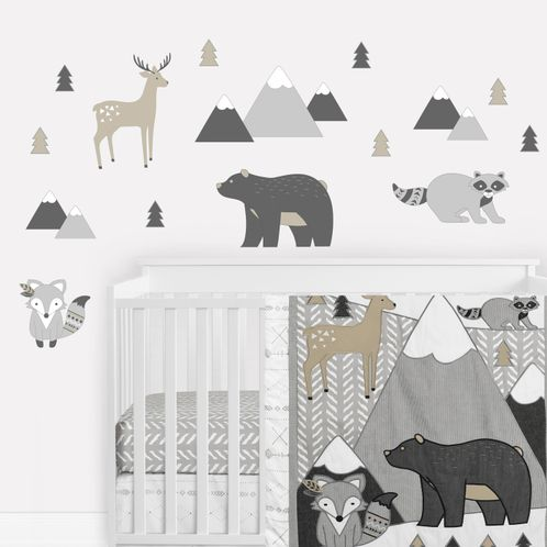 Woodland Animals Large Peel and Stick Wall Decal Stickers Art Nursery Decor Mural by Sweet Jojo Designs - Set of 4 Sheets - Beige, Grey and White Boho Mountain Forest Friends Deer Fox Bear Raccoon - Click to enlarge