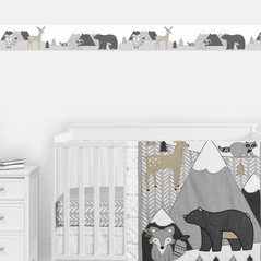 Woodland Animals Wallpaper Wall Border Mural by Sweet Jojo Designs - Beige, Grey and White Boho Mountain Forest Friends Deer Fox Bear Raccoon