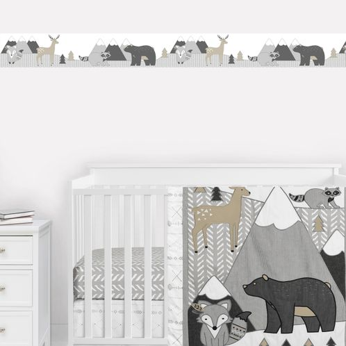Woodland Animals Wallpaper Wall Border Mural by Sweet Jojo Designs - Beige, Grey and White Boho Mountain Forest Friends Deer Fox Bear Raccoon - Click to enlarge
