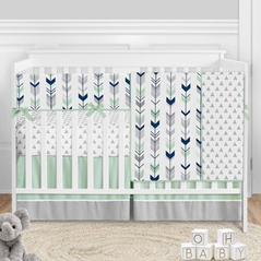 Woodland Arrow Baby Boy or Girl Nursery Crib Bedding Set by Sweet Jojo Designs - 5 pieces - Mod Navy Blue Grey and Mint