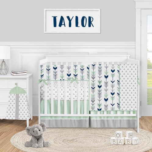 Woodland Arrow Baby Boy or Girl Nursery Crib Bedding Set by Sweet Jojo Designs - 5 pieces - Mod Navy Blue Grey and Mint - Click to enlarge