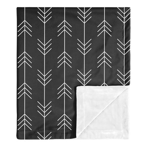 Woodland Arrow Baby Boy Receiving Security Swaddle Blanket for Newborn or Toddler Nursery Car Seat Stroller Soft Minky by Sweet Jojo Designs - Black and White Rustic Patch Collection - Click to enlarge