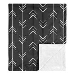 Woodland Arrow Baby Boy Receiving Security Swaddle Blanket for Newborn or Toddler Nursery Car Seat Stroller Soft Minky by Sweet Jojo Designs - Black and White Rustic Patch Collection