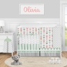 Woodland Arrow Baby Girl Nursery Crib Bedding Set by Sweet Jojo Designs - 5 pieces - Mod Coral Grey and Mint