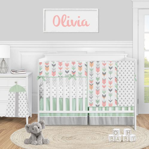 Woodland Arrow Baby Girl Nursery Crib Bedding Set by Sweet Jojo Designs - 5 pieces - Mod Coral Grey and Mint - Click to enlarge