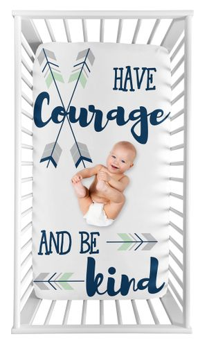 Woodland Arrow Boy Fitted Crib Sheet Baby or Toddler Bed Nursery Photo Op by Sweet Jojo Designs - Grey, Navy Blue and Mint - Click to enlarge