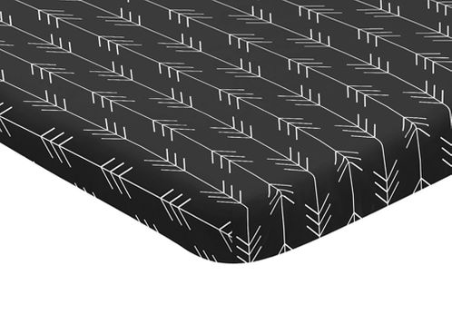 Woodland Arrow Boy Fitted Mini Crib Sheet Baby Nursery by Sweet Jojo Designs For Portable Crib or Pack and Play - Black and White Rustic Country Lumberjack - Click to enlarge