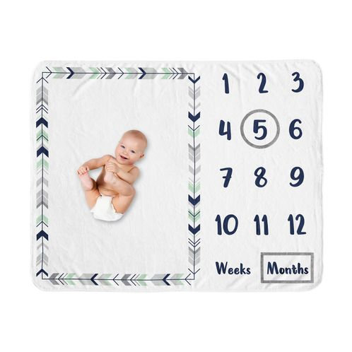 Woodland Arrow Boy or Girl Milestone Blanket Monthly Newborn First Year Growth Mat Baby Shower Memory Keepsake Gift Picture by Sweet Jojo Designs - Grey Navy Blue and Mint Green Gender Neutral - Click to enlarge