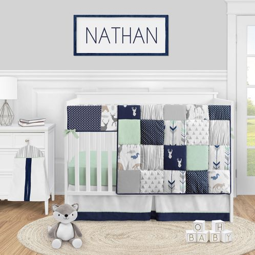 Woodland Arrow Deer Baby Boy or Girl Nursery Crib Bedding Set by Sweet Jojo Designs - 5 pieces - Navy Blue Mint and Grey Woodsy - Click to enlarge