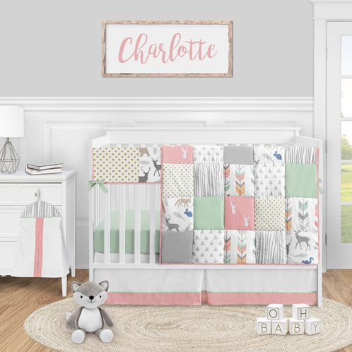 Woodland Arrow Deer Baby Girl Nursery Crib Bedding Set by Sweet Jojo Designs - 5 pieces - Coral Mint and Grey Woodsy - Click to enlarge