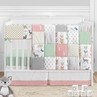 Woodland Arrow Deer Baby Girl Nursery Crib Bedding Set by Sweet Jojo Designs - 5 pieces - Coral Mint and Grey Woodsy