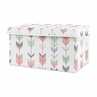 Woodland Arrow Girl Small Fabric Toy Bin Storage Box Chest For Baby Nursery or Kids Room by Sweet Jojo Designs - Grey, Coral Pink and Mint Green Mod Modern