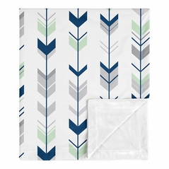 Woodland Arrow Woodsy Gray Baby Boy Receiving Security Swaddle Blanket for Newborn or Toddler Nursery Car Seat Stroller Soft Minky by Sweet Jojo Designs - Navy Blue, Mint and Grey
