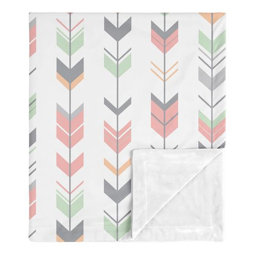 Woodland Arrow Woodsy Gray Baby Girl Receiving Security Swaddle Blanket for Newborn or Toddler Nursery Car Seat Stroller Soft Minky by Sweet Jojo Designs - Coral, Mint and Grey - Click to enlarge