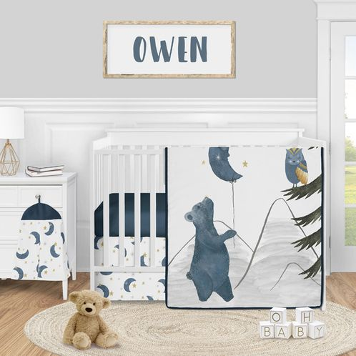 Woodland Bear and Owl Baby Boy Girl Nursery Crib Bedding Set by Sweet Jojo Designs - 4 pieces - Navy Blue, Grey, Gold and Black Celestial Moon Star Watercolor Forest - Click to enlarge