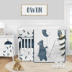 Woodland Bear and Owl Baby Boy Girl Nursery Crib Bedding Set by Sweet Jojo Designs - 5 pieces - Navy Blue, Grey, Gold and Black Celestial Moon Star Watercolor Forest