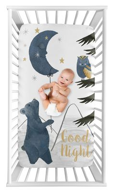 Woodland Bear and Owl Boy or Girl Fitted Crib Sheet Baby or Toddler Bed Nursery Photo Op by Sweet Jojo Designs - Navy Blue, Grey, Gold and Black Celestial Moon Star Watercolor Forest