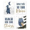 Woodland Bear and Owl Wall Art Prints Room Decor for Baby, Nursery, and Kids by Sweet Jojo Designs - Set of 4 - Navy Blue, Grey, Gold and Black Celestial Moon Star Watercolor Forest Animal