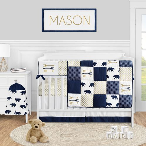 Woodland Bear Baby Boy Nursery Crib Bedding Set by Sweet Jojo Designs - 5 pieces - Navy Blue Gold and White Arrow Polka Dot - Click to enlarge